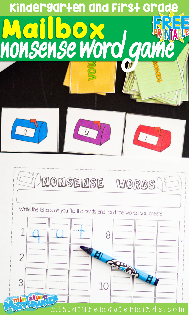 Free Printable Mailbox Nonsense Word Building Card Game For Kindergarten and First Grade