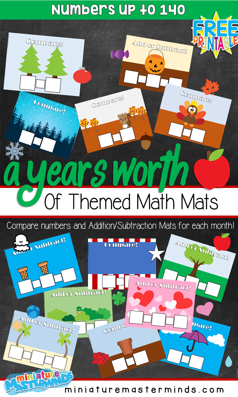 A Year's Worth of Themed Math Mats For Math Centers – Count, Compare Numbers and Add/Subtract up to 140