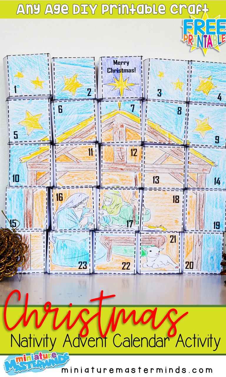 Free Printable Christmas Nativity DIY Advent Calendar Craft Activity