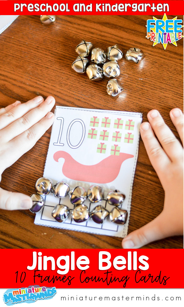 Jingle Bells Printable 10 Frames Cards Counting Practice For Kindergarten Math Centers
