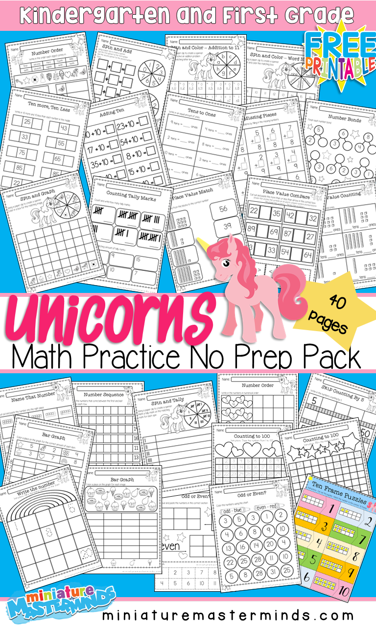 Unicorn Themed Math Practice No Prep Book 40 Pages Kindergarten and First Grade
