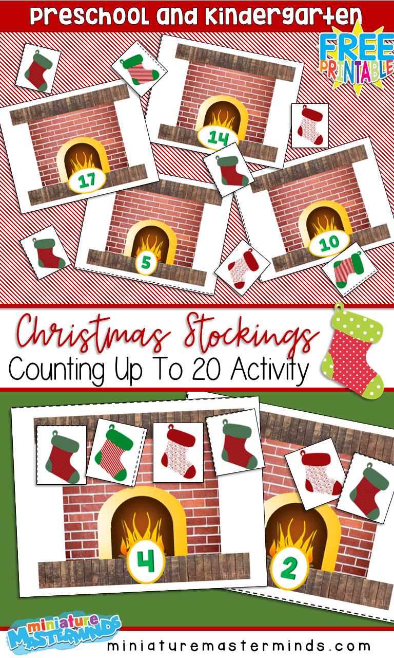 Preschool and Kindergarten Christmas Stockings Count to 20 Printable Activity For Math Centers