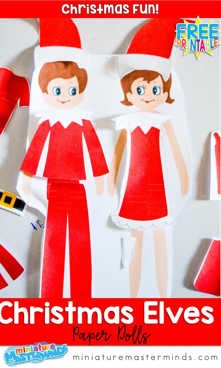 Christmas Elves Paper Doll Set Christmas Fun Fine Motor Builder