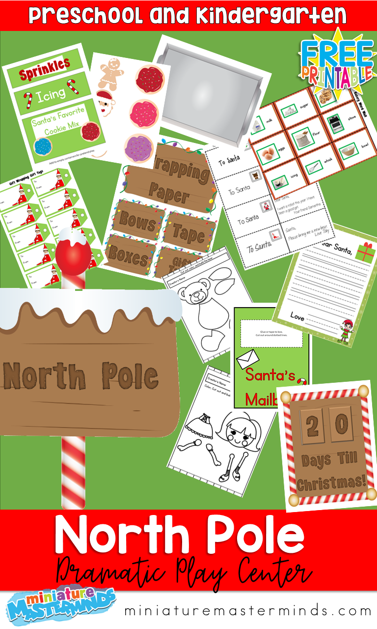 North Pole Santa's Workshop Printable Dramatic Play Center