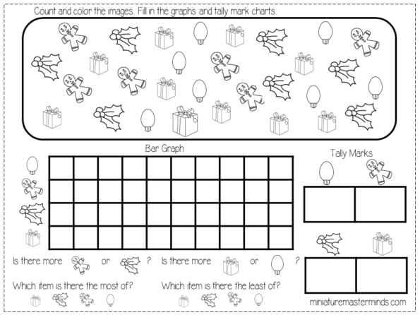 Free Printable Kindergarten And Preschool Christmas Graphing Worksheets –  Miniature Masterminds