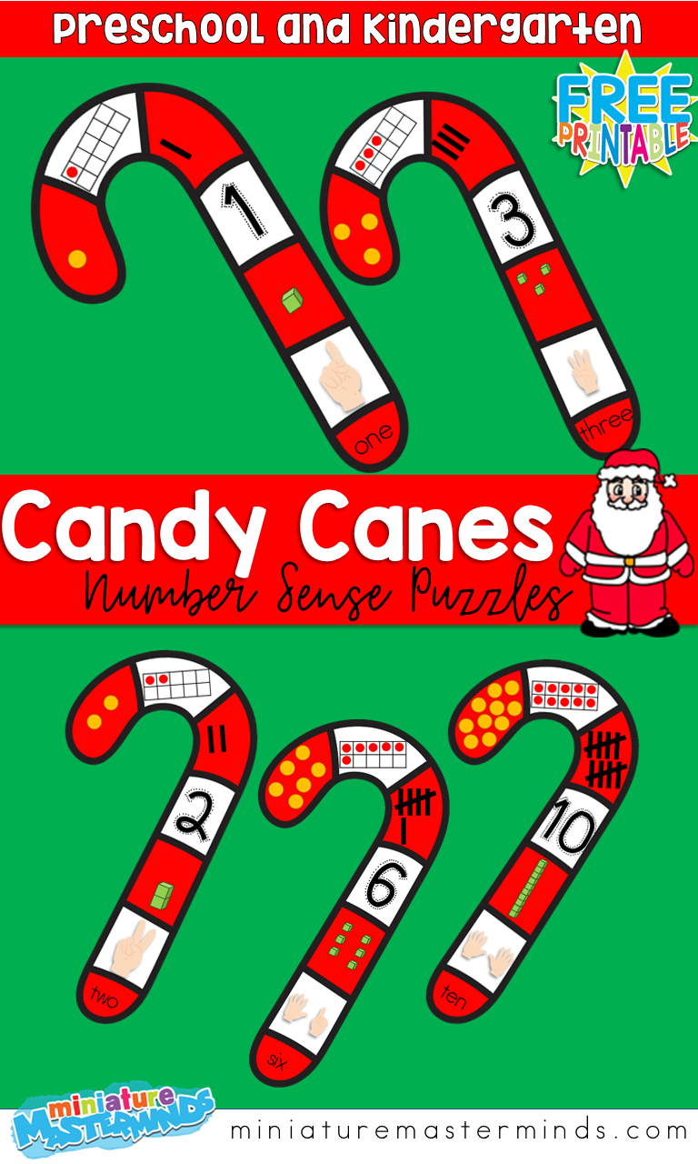 Candy Cane Number Sense Printable Puzzles 1- 10