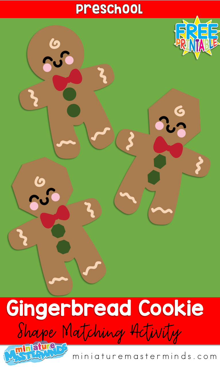 Gingerbread Cookie Shape Match Preschool Activity