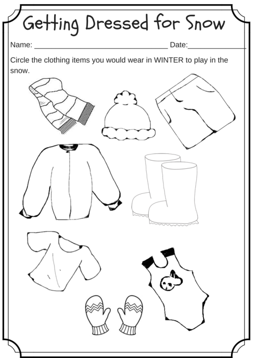 Number Names Worksheets winter worksheets for first grade : Winter Weather Wear Preschool Worksheet – What would you wear on a ...