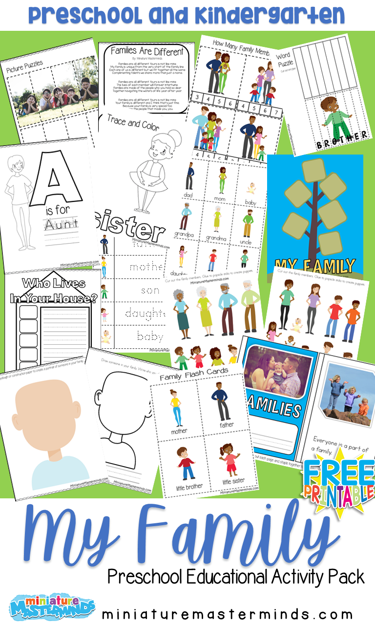 My Family Free Printable Preschool Activity Pack Miniature Masterminds